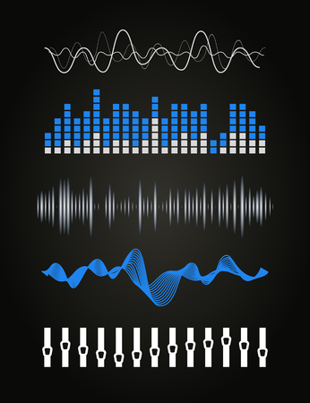 sonic: Vector music sound waves set. Audio digital equalizer technology, console panel, pulse musical.
