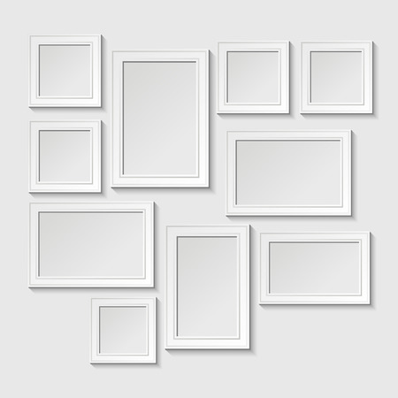 Decorative template frame design on a wall for baby. Photo and memories, scrapbook concept, vector illustration. Gallery
