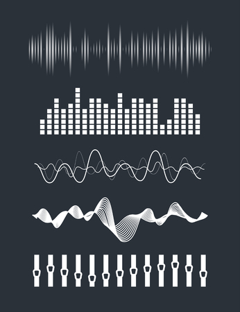 musica electronica: Olas Ilustración de la música de sonido fijados. Tecnología de audio digital ecualizador, el panel de la consola, musical pulso. Vectores