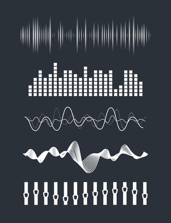 Vecteur vagues sonores musicaux définis. La technologie audio numérique égaliseur, panneau de la console, le pouls musical. Vecteurs