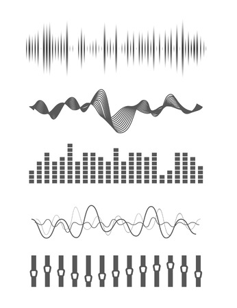 Vector music Schallwellen gesetzt. Audio Digital-Equalizer-Technologie, Konsolentafel, Puls Musical.