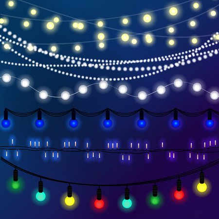 garland: Beautiful Christmas abstract background. Bokeh garland glowing lights. Illustration