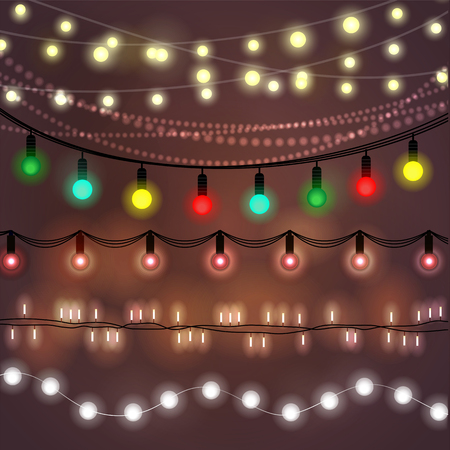 flash light: Beautiful Christmas abstract background. Bokeh garland glowing lights. Illustration