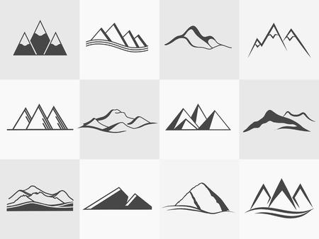ricreazione: Insieme di retro distintivi ed etichetta logo vettoriale montagne. distintivi del paesaggio ed emblemi logo di viaggio
