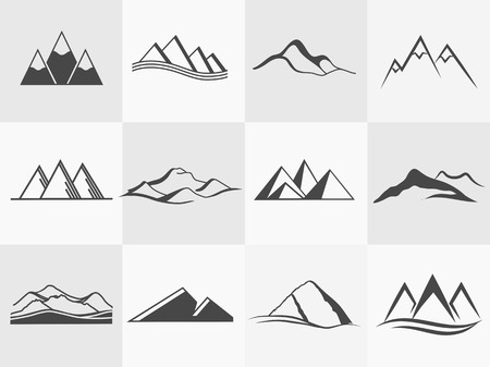Set of retro badges and label logo vector mountains. Landscape badges and travel logo emblems Çizim