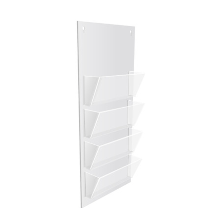 notice: White  POS  materials on white empty background. Office supplies, stationery. Illustration