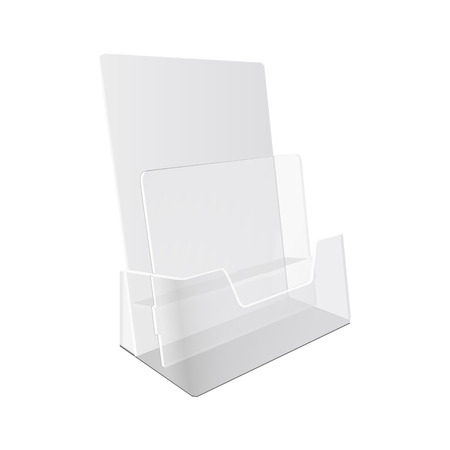 display: White  POS  materials on white empty background. Office supplies, stationery. Illustration