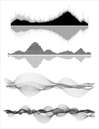 Vecteur vagues sonores musicaux définis. La technologie audio numérique égaliseur, panneau de la console, le pouls musical.