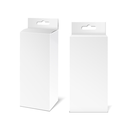 paper product: White paper packaging box with hanging hole. Packaging Product Illustration