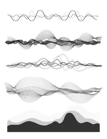 vague: Vecteur vagues sonores musicaux définis. La technologie audio numérique égaliseur, panneau de la console, le pouls musical. Illustration