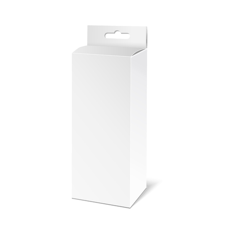 White paper packaging box with hanging hole. Packaging Product Illustration