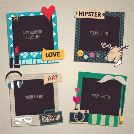 Decoratieve sjabloon frame ontwerp voor de baby foto's en herinneringen, plakboek concept, vector illustratie Stock Illustratie