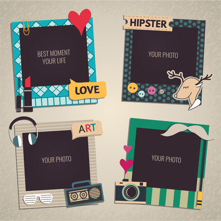 collage art: Decorative template frame design for baby photo and memories, scrapbook concept, vector illustration
