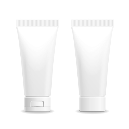 Make up. Tube of cream or gel white plastic product.  Container, product and packaging. White background. Ilustração