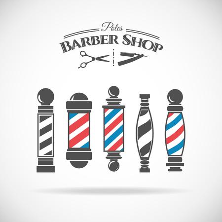 barbero: Ilustraci�n vectorial barber�a colecci�n de polos de la vendimia aislado en el fondo blanco.