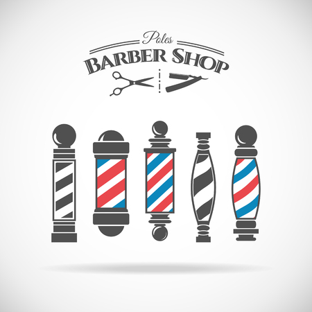 shop: Vector illustration  barber shop vintage pole collection  isolated  on white background. Illustration