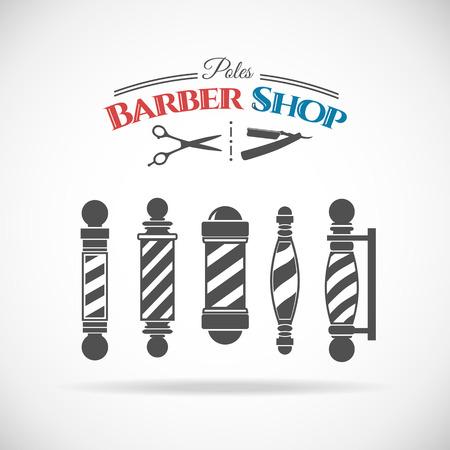 barber shop: Vector illustration  barber shop vintage pole collection  isolated  on white background. Illustration