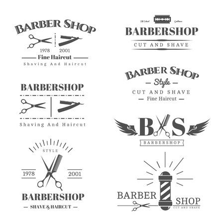 barbero: Vector conjunto de etiquetas retro tienda de barbero, logotipo, insignias y elementos de diseño Vectores