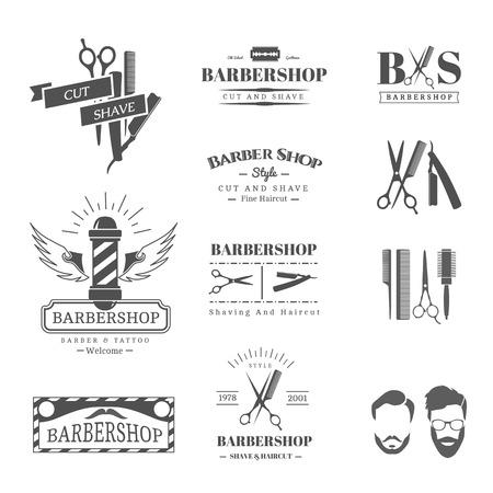peineta: Vector conjunto de etiquetas retro tienda de barbero, logotipo, insignias y elementos de diseño Vectores