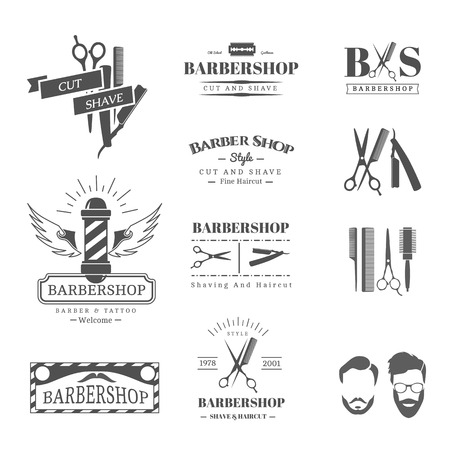comb hair: Vector set of retro barber shop labels, logo, badges and design element
