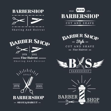 peluquero: Vector conjunto de etiquetas retro tienda de barbero, logotipo, insignias y elementos de dise�o Vectores