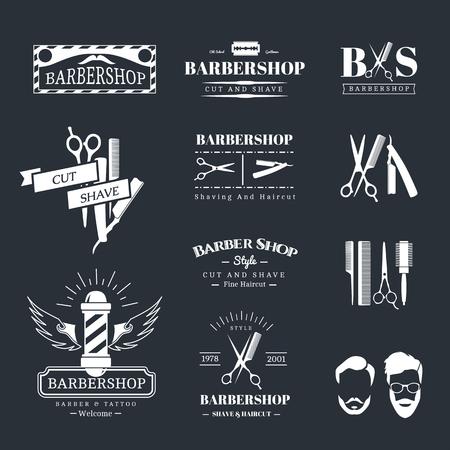 tijeras: Vector conjunto de etiquetas retro tienda de barbero, logotipo, insignias y elementos de diseño Vectores