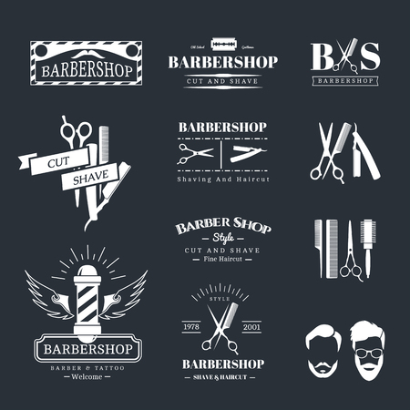 barber scissors: Vector set of retro barber shop labels, logo, badges and design element