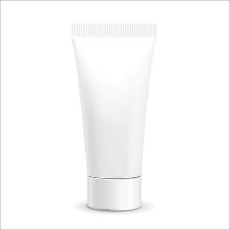 Make up. Tube of cream or gel white plastic product.  Container, product and packaging. White background. Vectores