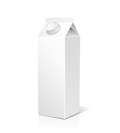 white boxes: Juice and milk blank white carton boxes  3d. Isolated object. Vector illustration. Mock-up packages