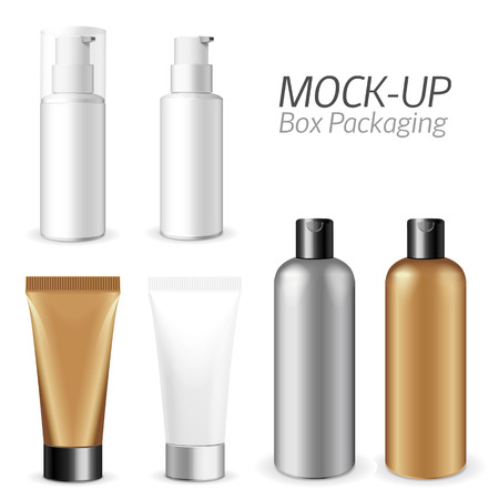 product box: Make up. Tube of cream or gel white plastic product.  Container, product and packaging. White background. Illustration