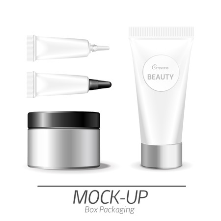 box design: Make up. Tube of cream or gel white plastic product.  Container, product and packaging. White background. Illustration