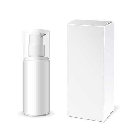 구성하다. 크림이나 젤 흰색 플라스틱 제품의 튜브. 컨테이너, 제품 및 포장. 흰색 배경입니다.