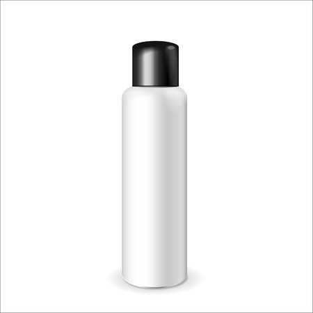cream tube: Make up. Tube of cream or gel white plastic product.  Container, product and packaging. White background. Illustration