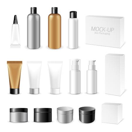 botellas vacias: Maquillaje. Tubo de la crema o gel de productos de plástico blanco. Recipiente, producto y envasado. Fondo blanco.