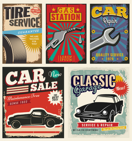 sixties: Vintage Retro Car. Grunge Classic Effects. Car Wash and Car Repair