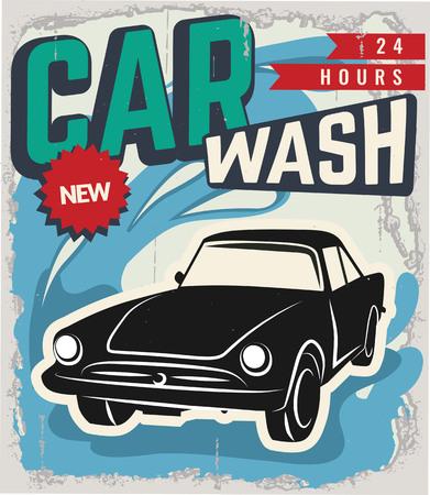 Rétro voiture. Grunge effets classiques. Car Wash et réparation de voitures Banque d'images - 48362156