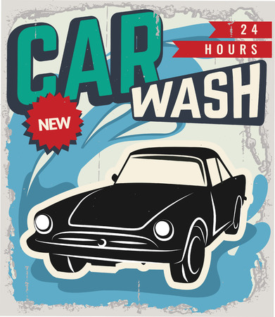 waxing: Vintage Retro Car. Grunge Classic Effects. Car Wash and Car Repair