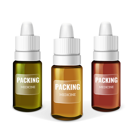 aromatic: Blank Template Medicine Box. Packaging Pharmaceutical Facilities.  Package of Drugs. Aromatic Essential Oil. White background. Illustration