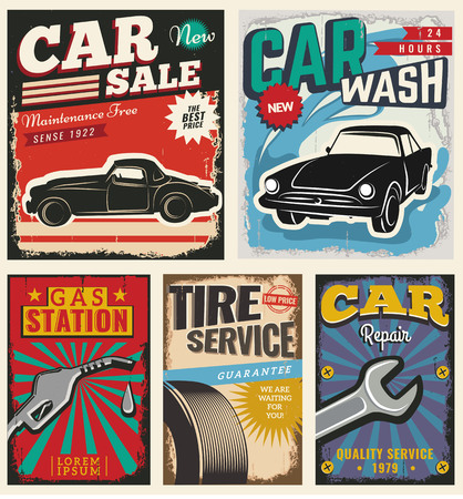 retro design: Vintage Retro Car. Grunge Classic Effects. Car Wash and Car Repair