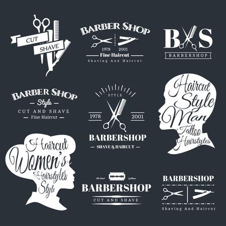 signage: Set of Retro Barber Shop Labels, Logo, Signs, Badges. Barbershop Vector Design Element. You Can Use it for Signboard, Signage or Just Design Element for Your Work. Illustration