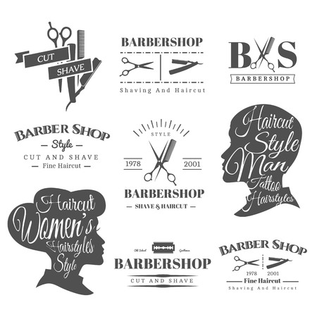 cut: Set of Retro Barber Shop Labels, Logo, Signs, Badges. Barbershop Vector Design Element. You Can Use it for Signboard, Signage or Just Design Element for Your Work. Illustration