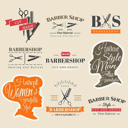 beautiful hair: Set of Retro Barber Shop Labels, Logo, Signs, Badges. Barbershop Vector Design Element. You Can Use it for Signboard, Signage or Just Design Element for Your Work. Illustration