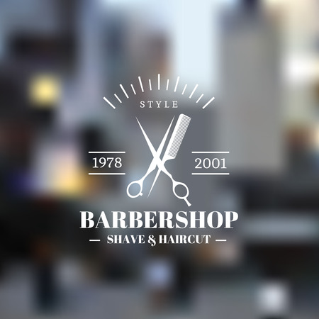 scissors comb: Barber shop icon emblem label or logo on blurred background Illustration