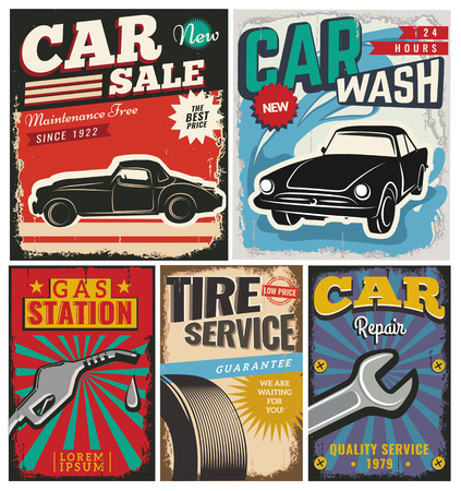 tire service: Vintage retro style. Set of vector cars flyer template. Garage, tire service, sale, wash, repair and auto service. You ?an use it for advertising, signboard, signage, banner or label.