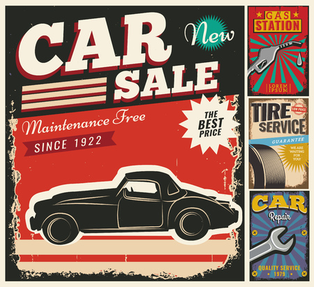 use by label: Vintage retro style. Set of vector cars flyer template. Garage, tire service, sale, wash, repair and auto service. You ?an use it for advertising, signboard, signage, banner or label.