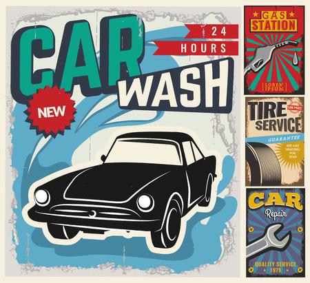 autolavaggio: Vintage stile retr�. Set di vettore modello auto volantino. Garage, servizio pneumatici, vendita, lavaggio, riparazione e manutenzione di auto. Lei? Un uso per la pubblicit�, cartello, segnaletica, banner o etichetta.