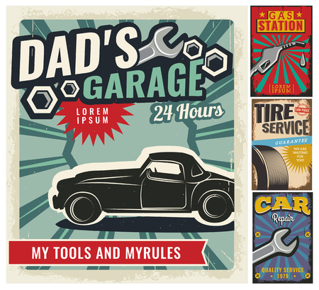 mechanic: Vintage retro style. Set of vector cars flyer template. Garage, tire service, sale, wash, repair and auto service. You ?an use it for advertising, signboard, signage, banner or label.