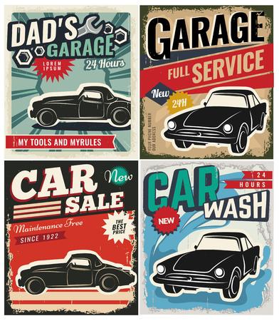 Weinlese-Retro-Stil. Set von Vektor-Autos Flyer Vorlage. Garage, Reifenservice, Verkauf, Waschen, Reparatur und Autoservice. Du? An Verwendung es für die Werbung, Schild, Schilder, Banner oder Label. Vektorgrafik