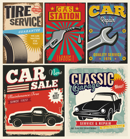 poster art: Vintage retro style. Set of vector cars flyer template. Garage, tire service, sale, wash, repair and auto service. You ?an use it for advertising, signboard, signage, banner or label.