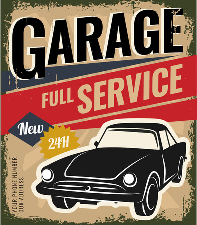 Vintage retro stile. Car repair and auto service vector flyer template. You can use it for grange background, banner, label.